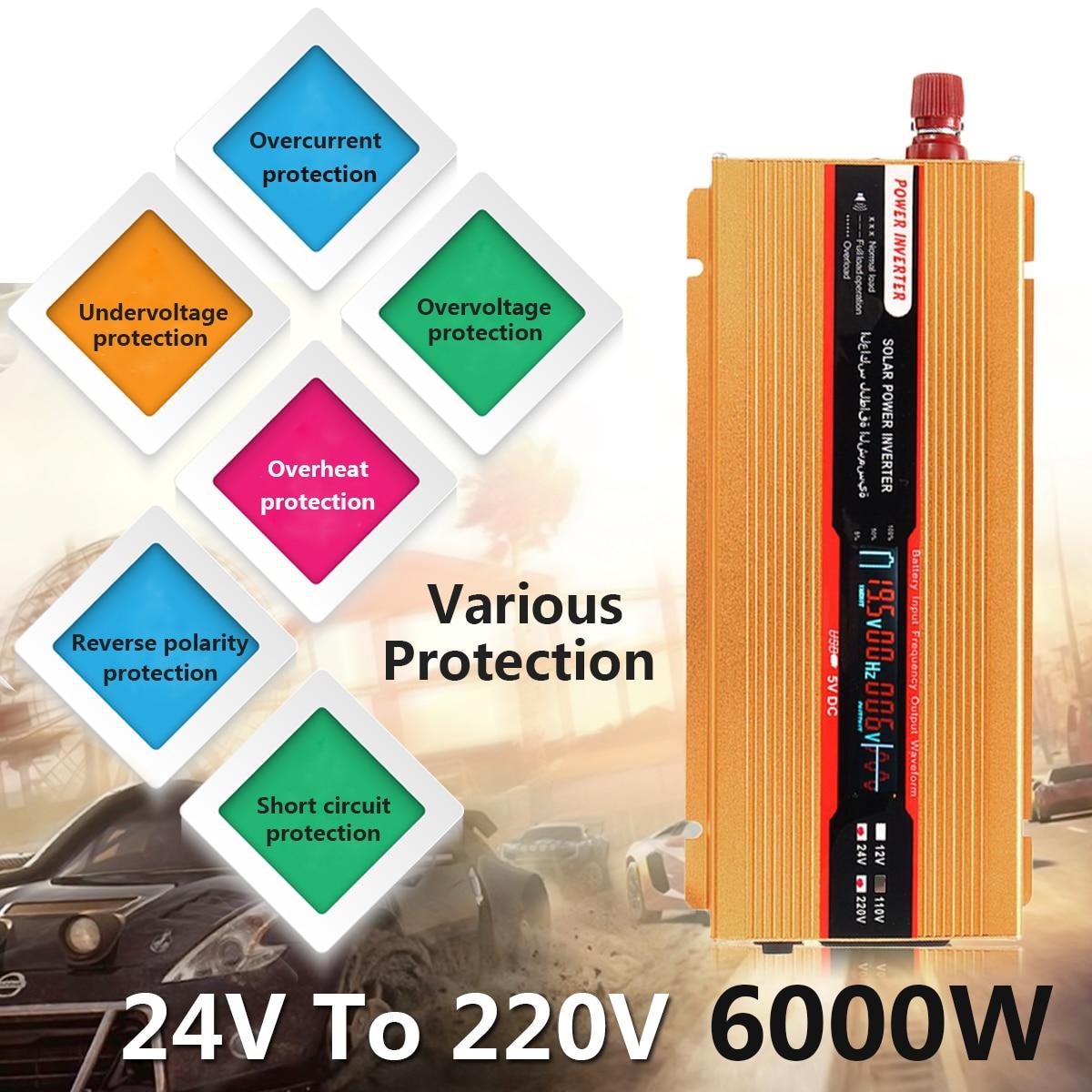 12/24 В к AC 220/110 В Напряжение трансформатор пик 6000 Вт автомобиля Мощность инвертор USB Модифицированная синусоида преобразователь защита от пер...