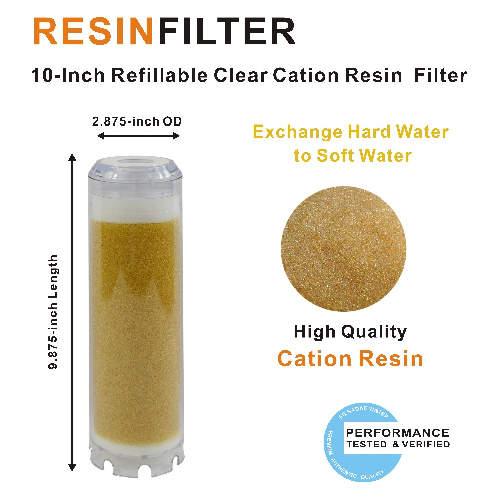 RO Filter Cartridge Transparent 10'' Resin Filter Water Softener Ion Exchange Resin Fit All 10-inch Water Filter Housing