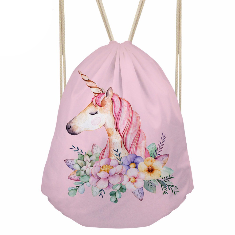 Drawstring Bag Small Women s Backpack for Cartoon Unicorn Printing Girls Cute Daypack Kids Satchel Softback
