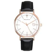 Las señoras de moda reloj de cuarzo Disney las niñas de la marca de fábrica impermeable reloj de pulsera de las mujeres de cuero Mickey mouse occasionales relojes relogio