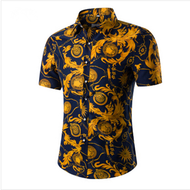 2017 fashion mens short sleeve hawaiian shirt summer for Mens slim hawaiian shirt