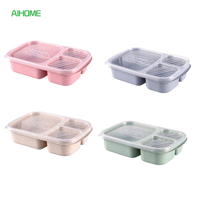 3 Section Wheat Straw Bento Box with Lid Microwavable Lunch Box Food Storage Container Dinnerware for  sc 1 st  AliExpress.com & 3 Section Wheat Straw Bento Box with Lid Microwavable Lunch Box Food ...