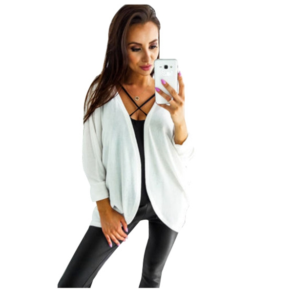 Womens New Fashion Spring Autumn Pure Color Baggy Bat Long Sleeve Casual Knit Cardigan Coat