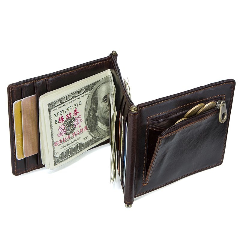 CONTACT'S Crazy Horse cowhide leather RFID money clip slim card wallet trifold male cash clamp man cash holder zip coin pocket 4