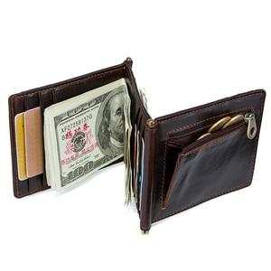 Image 5 - CONTACTS מטורף סוס עור פרה עור RFID כסף קליפ slim כרטיס ארנק trifold זכר מזומנים מהדק איש מזומנים מחזיק zip מטבע כיס