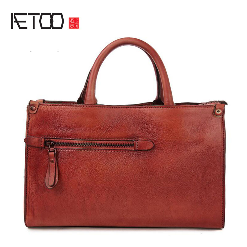 AETOO New handbag leather cowboy national wind handbag female Messenger bag female shoulder art woman 2017 new national wind aslant handbag embroidered flowers small square bag rivet shoulder bag