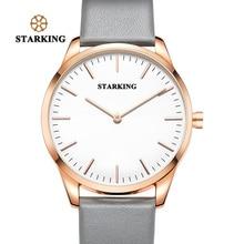 STARKING Luxus Sport Armbanduhr Mens Fashion Marke 2017 Neue Ankunft Einfachen Stil Uhr Männer Einzigartige Grau Leder Armbanduhr Männlichen
