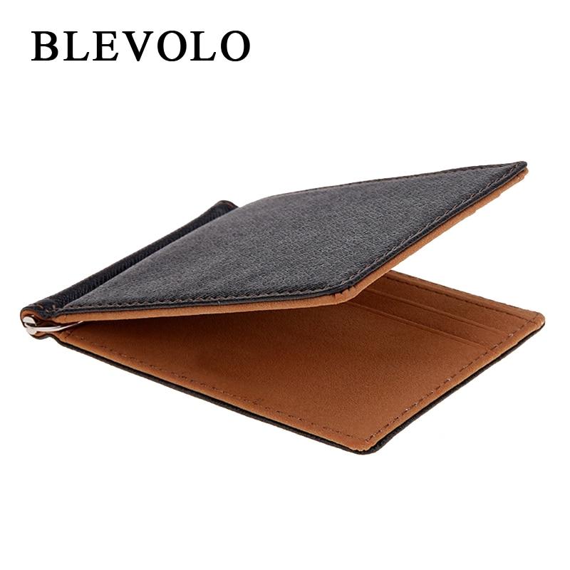 BLEVOLO брендовая Для мужчин кошелек короткие кожи женские кошельки из искусственной кожи с зажимом для денег, сплошной тонкий бумажник для Дл...