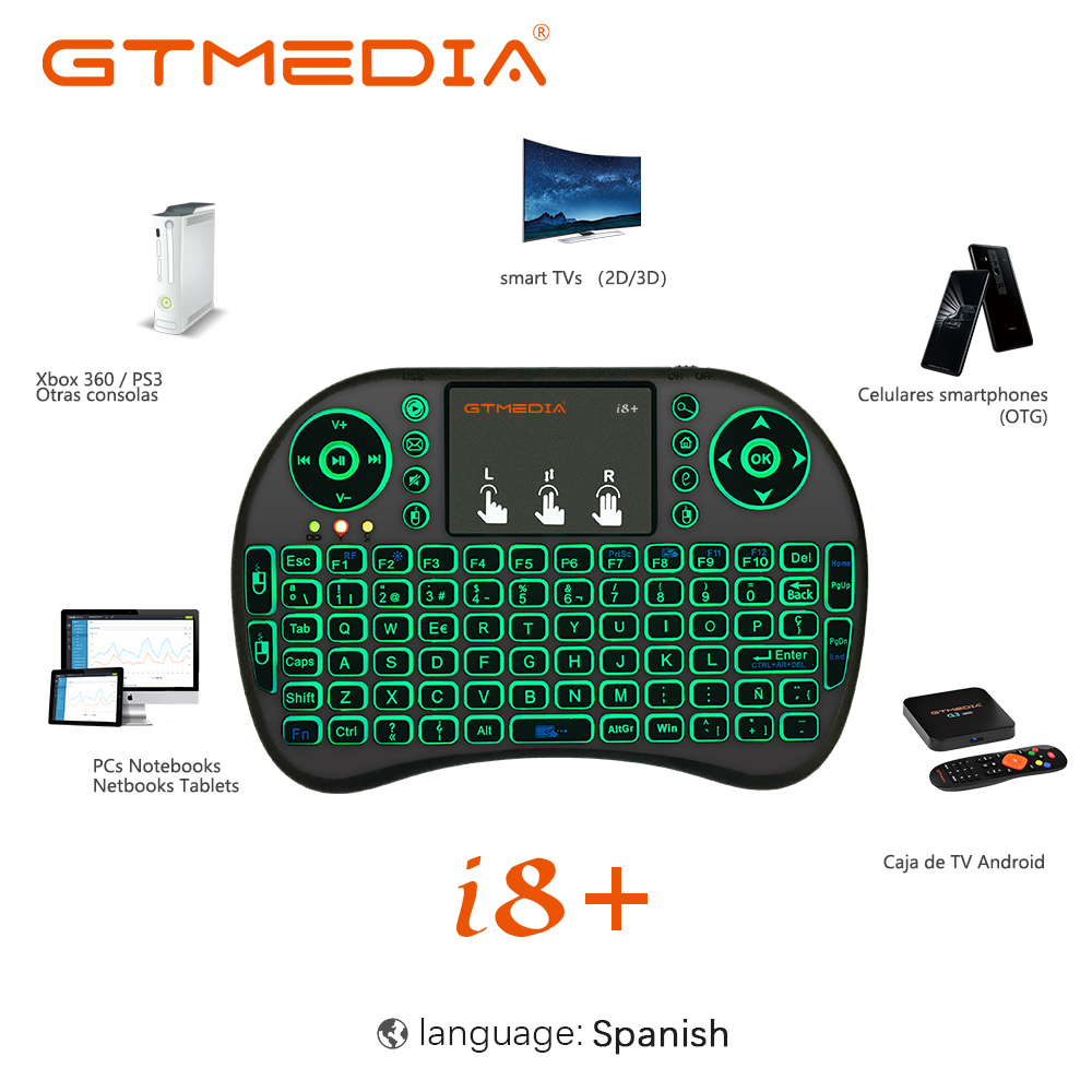 i8 Mini Wireless Keyboard 2.4G Color Backlit Air Mouse Touchpad Russian Spanish Keyboard For Android TV Box Smart TV PC PS4