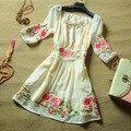2016 Женщин весной и летом знатных элегантные peones вышивка платье принцессы шифон цельный платье вышитые A365