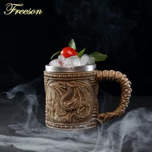 Image 3 - Crâne Dragon résine acier inoxydable bière tasse rétro chevalier Tankard Halloween tasse à café créatif Viking thé tasse Pub Bar décoration