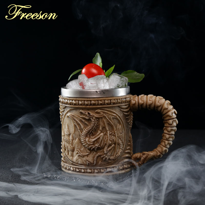 Image 3 - Skull Dragon Resin Stainless Steel Beer Mug Retro Knight Tankard Halloween Coffee Cup Creative Viking Tea Mug Pub Bar DecorationMugs   -
