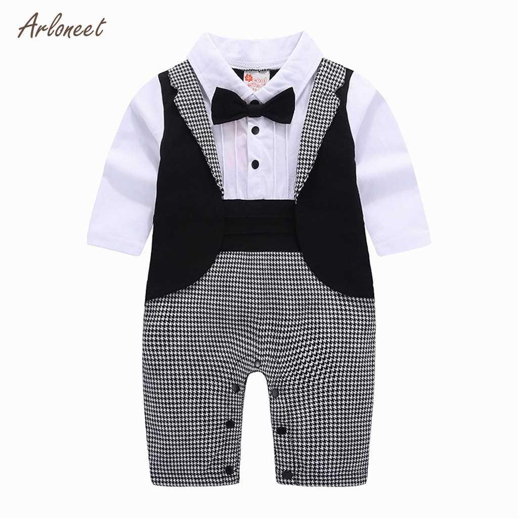 ARLONEET 新着秋のベビー服セットタキシード紳士ベビー服幼児服スーツ tシャツパンツベビーセット