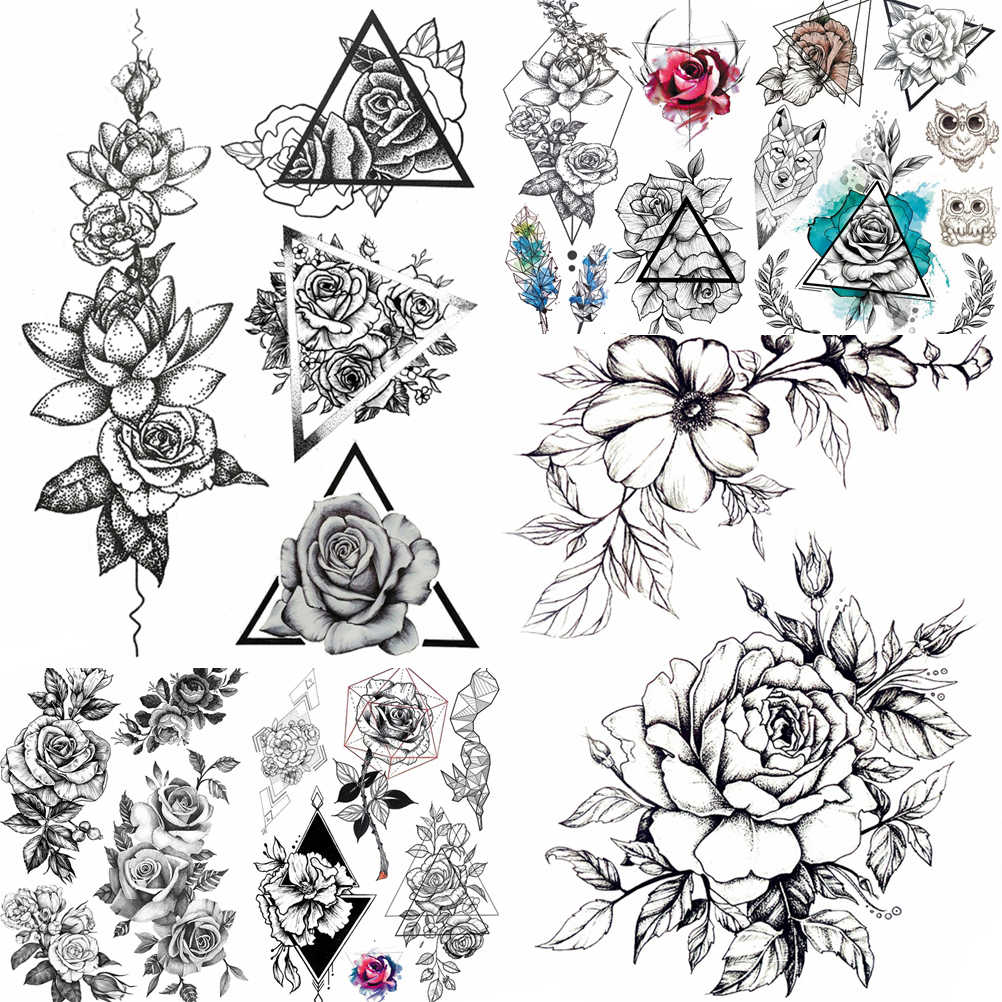Rosa Preta 3d A Prova Dwaterproof Agua Temporaria Tatuagem