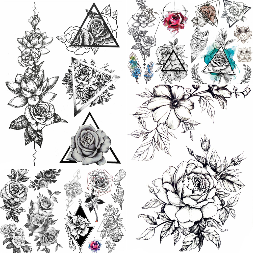 Black Rose 3D Waterproof Temporary Tattoo Illustration Stickers Peony Flower Fake Sexy Tattoo Pencil Drawing Leaf Women Body Art
