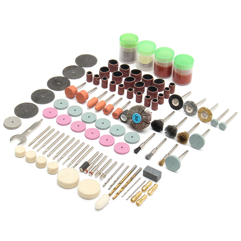 142pcs Electric Grinder Rotary Tool Accessory Bit Set for Grinding Sanding Polishing Disc Wheel Tip Cutter Drill Disc 206pcs 1 8 dremel drill engraver electric grinder tool accessories rotary tool set sanding grinding machine polishing accessory