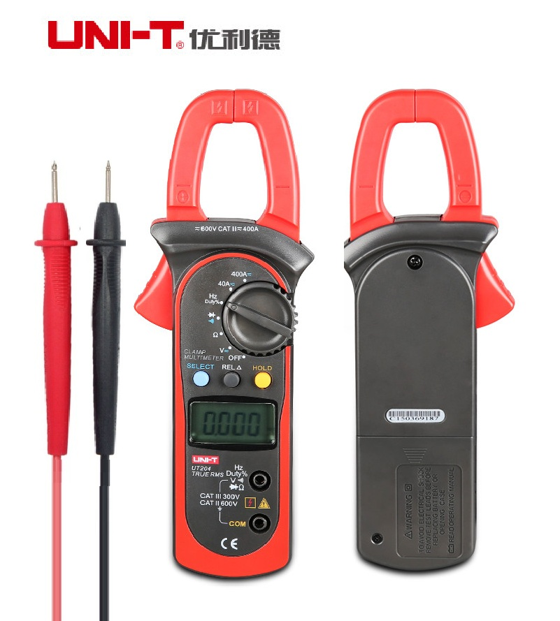 Brand New UNI-T UT204 Digital Clamp Meter Multimeter VS Fluke Voltage AC Current Diode Auto Range AC-DC Max 600A new fluke 303 clamp multimeter ac dc handheld 600a 30mm 4000ohm with backlight