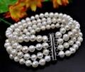 "7.5"" 4strands 6-7mm white freshwater pearl bracelet free shipping"