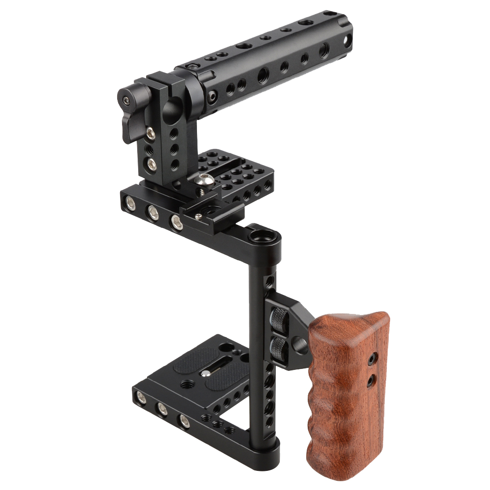 DSLR Camera Steadicm Cage Top Handle Wood Grip for Canon Nikon Panasonnic Best Stabilizer For DSLR Photo Studio Kit C1175 meike mk d750 battery grip pack for nikon d750 dslr camera replacement mb d16 as en el15 battery