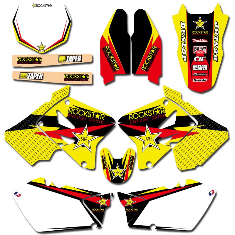 Motorcycle Matching Background Graphic Decals Stickers Kit For Suzuki RM125 RM250 RM 125 250 2001 2002 2003 2004 2005 2006-2012