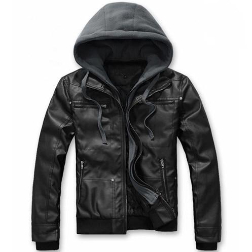 2019 New Leather Jacket Male Motorcycle Jacket Hat Detachable Faux Leather Jacket Men Biker Jacket Big Size 4XL