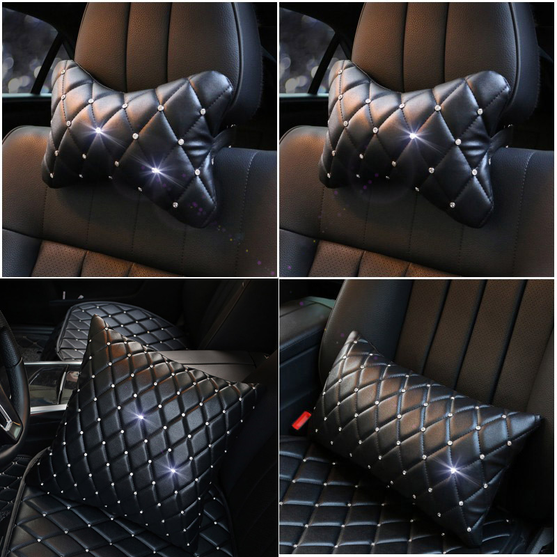 Leather Car Neck Pillow with Crystal Bling Bling Rhinestones Car Headrest Pillow Seat Waist Supports Cushion Auto Accessories