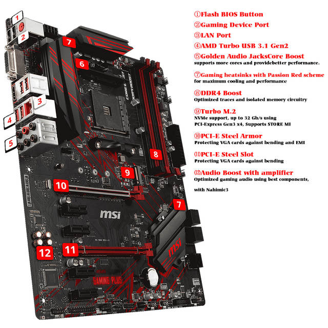 MSI B450 Gaming Plus Motherboard AMD Ryzen Socket AM4 ATX ssd m 2