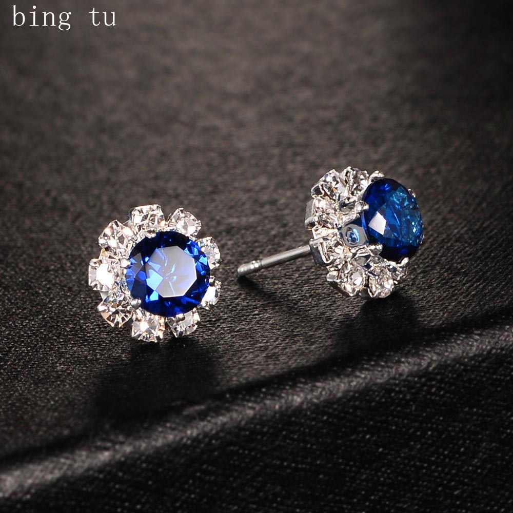 Bing Tu Women Flower Earrings Blue Red CZ Zricon Floral Stud Earring Elegant Cute Small Jewelry Earing Christmas Gift bijoux