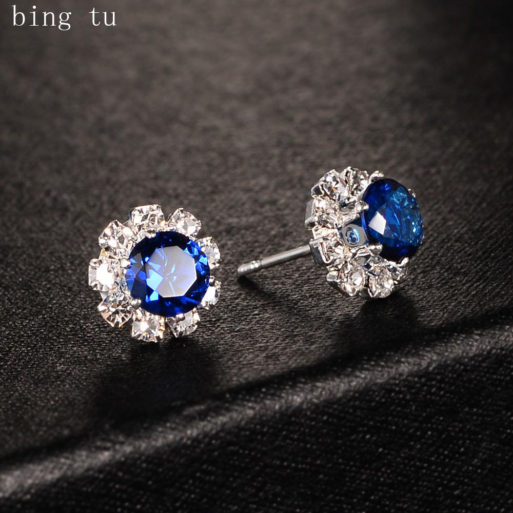 Bing Tu Women Flower Earrings Blue Red CZ Zircon Floral Stud Earring Elegant Cute Small Jewelry Earing Christmas Gift bijoux