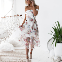 DeRuiLaDy Women Sexy Off Shoulder Mesh Summer Long Dress Female Elegant Flower Print Backless Dresses Fashion