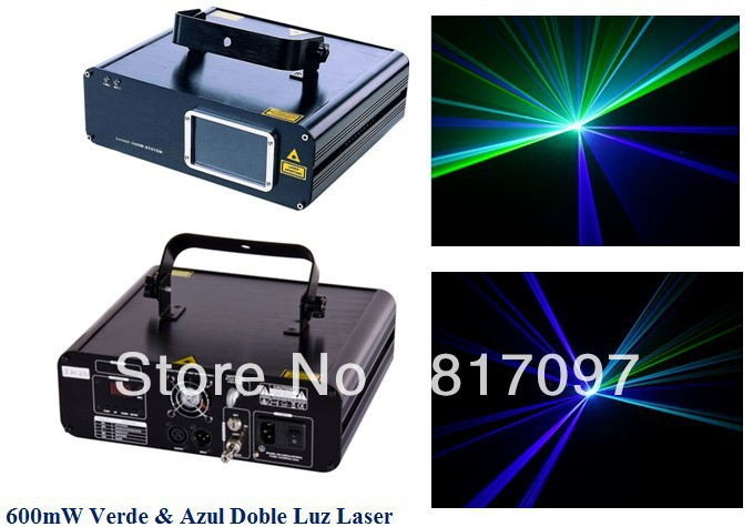 Venta 600mW Luz Laser Doble Rayo 500mW Azul 450nm 100mW Verde 532nm DPSS Laser Diodo Show Laser DJ Luces Escenario Envio Gratis venta сливки в москве