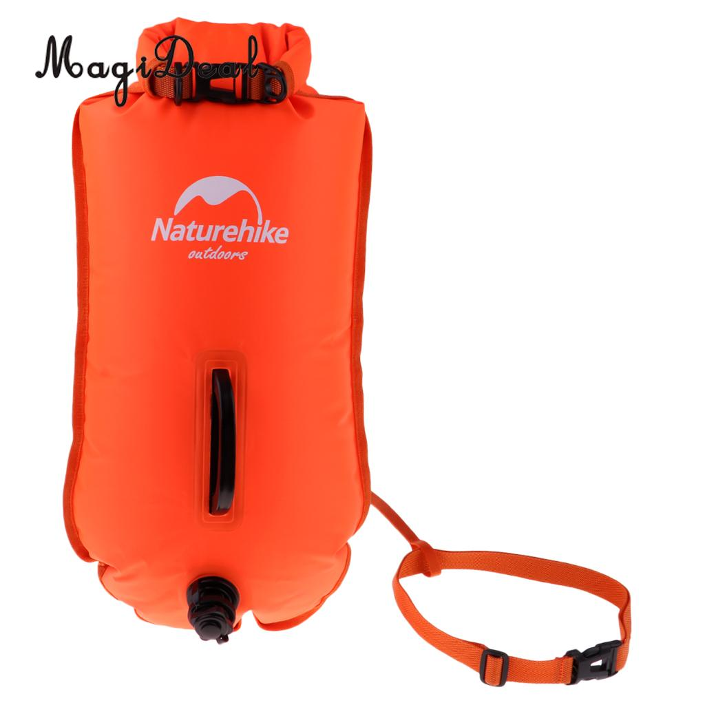 High Visibility Waterproof Inflatable Safety Swim Buoy Tow Float Dry Bag Waist Belt for Open Water