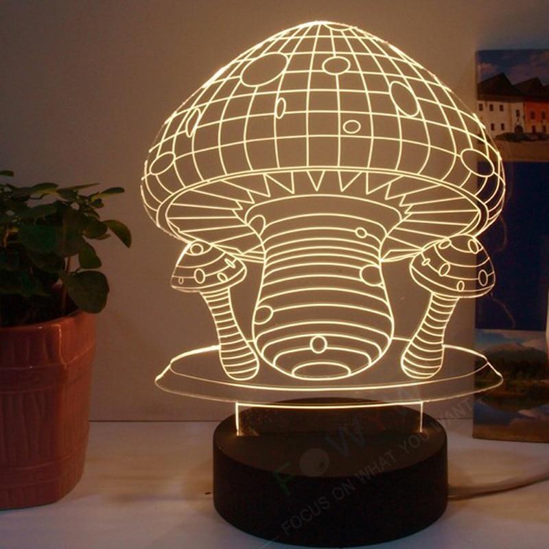 Free Shipping Night Light Mushroom 3d Table Lamp Abajur