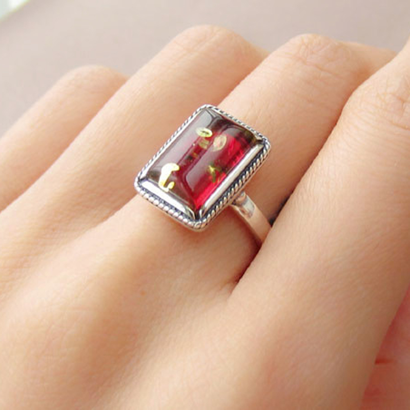 Yoowei Natural Red Amber Rings for Women Real 925 Sterling Silver