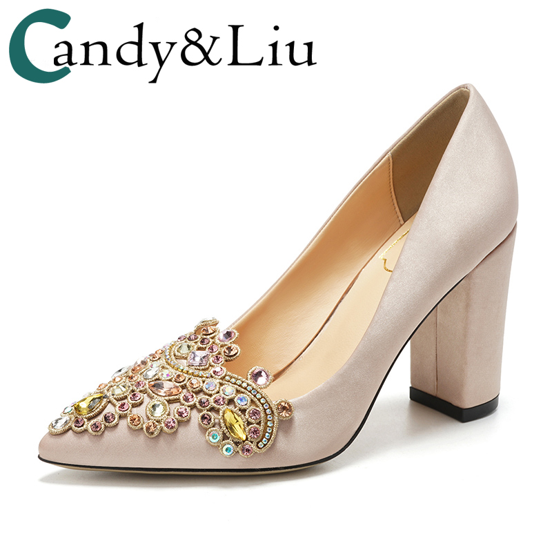 Wedding Shoes Female Pumps Silk Chunky Thick High heels Champagne Color  Satin Embroidery Crystal Pointed Toe Comfortable Shoes dbb97b45a032