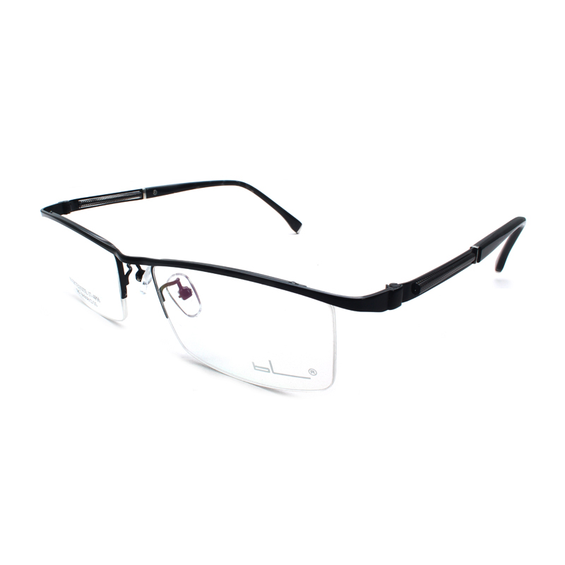 Titanium Browline Semi-Rimless Eyeglasses Frame Oval Shape Fashion Brand Prescription Glasses Spectacles Eyewear for Men