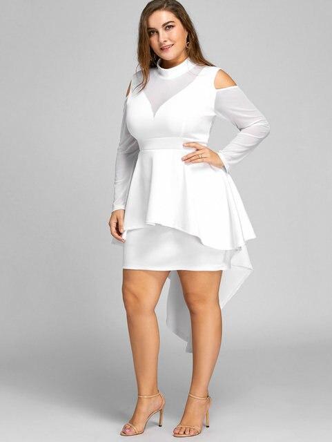 Gamiss Plus Size Mesh Panel High Low Bodycon Dress Midi Party Dress
