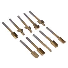 "10 unids 1/8 ""hss madera router brocas de archivos titanium coated mini 3mm de madera cortador herramienta rotativa dremel conjunto"