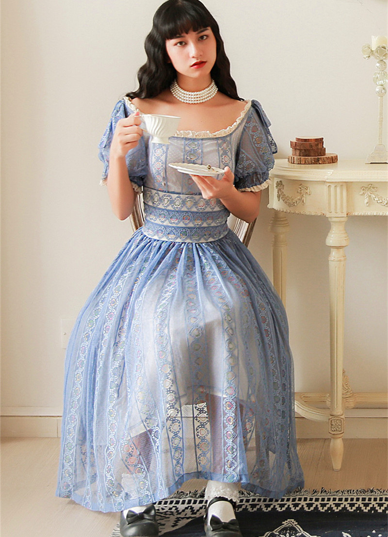 Women Summer 2019 Vintage Blue Lace Midi Dress French Retro Sweet Sexy Slash Neck Elegant Long