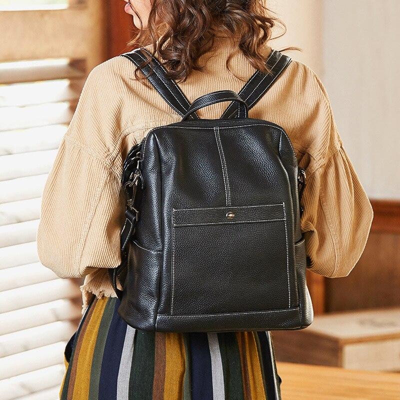Simple Business Women Backpack 100% Cowhide Leather Ladies Knaspack Black Large Laptop Bag Teenager Girl School Bag