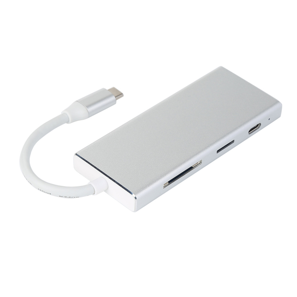 7 in 1 USB-C Hub Adapter USB 3.1 Type C to 4K HDMI PD Digital AV Multi-port Adapter TF SD Card Converter C4 ssk scrm 060 multi in one usb 2 0 card reader for sd ms micro sd tf white