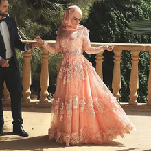 Arabic Muslim Sexy Long Sleeve Applique Lace hijab Evening Dresses 2016 Long Formal Gowns