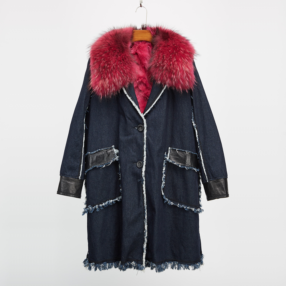 Real fox fur Liner jeans winter jacket women parka coat raccoon fur collar parkas thick long outerwear fashion jean outer 2017 winter new clothes to overcome the coat of women in the long reed rabbit hair fur fur coat fox raccoon fur collar