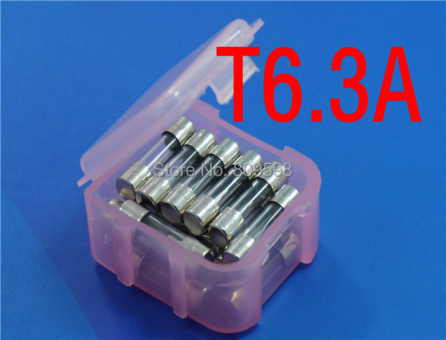 (20 pcs/lot) <font><b>T6.3A</b></font> <font><b>250V</b></font> 5 x 20mm Slow Blow Glass Tube <font><b>Fuse</b></font>, UL VDE RoHS Approved, 6.3 Amp. image