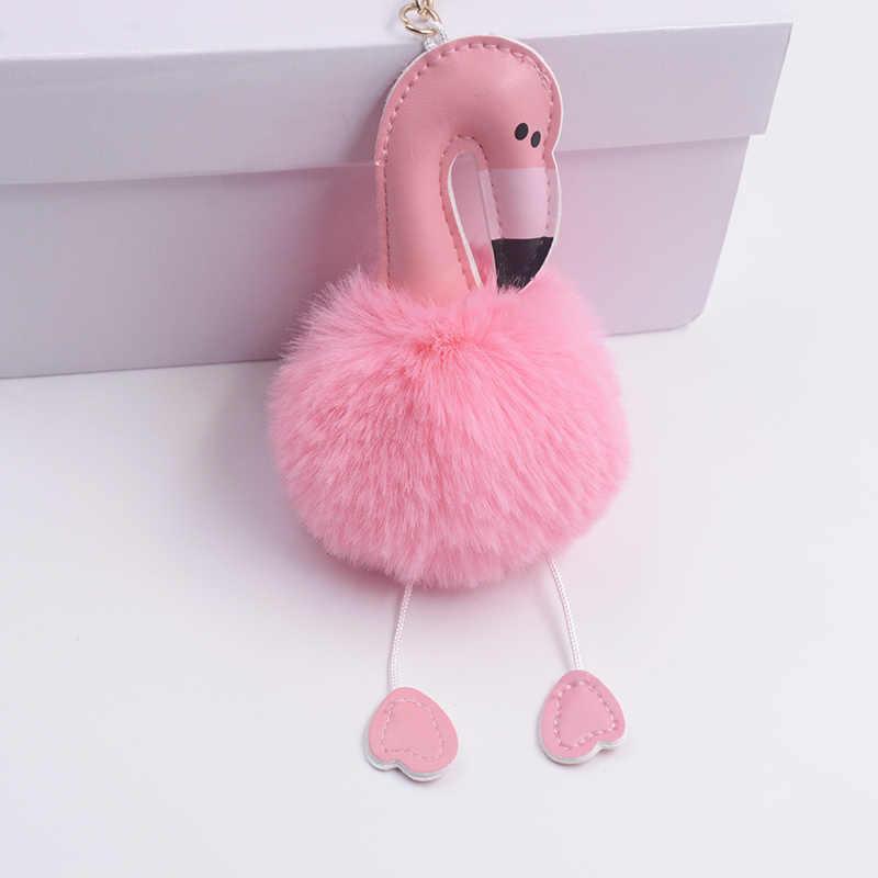 2018 Bonito Chaveiro Chaveiro Cadeia Flamingo Chave Falsa Pele De Coelho Bola pompom Fofo Mulheres Saco pompom Acessórios Anel Chave Do Carro