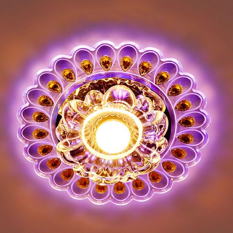 20 см Кристалл светодиодный светильник ing гостиная Павлин Потолочная люстра лампа потолочный светильник Husehold светильник питания - Цвет корпуса: Purple