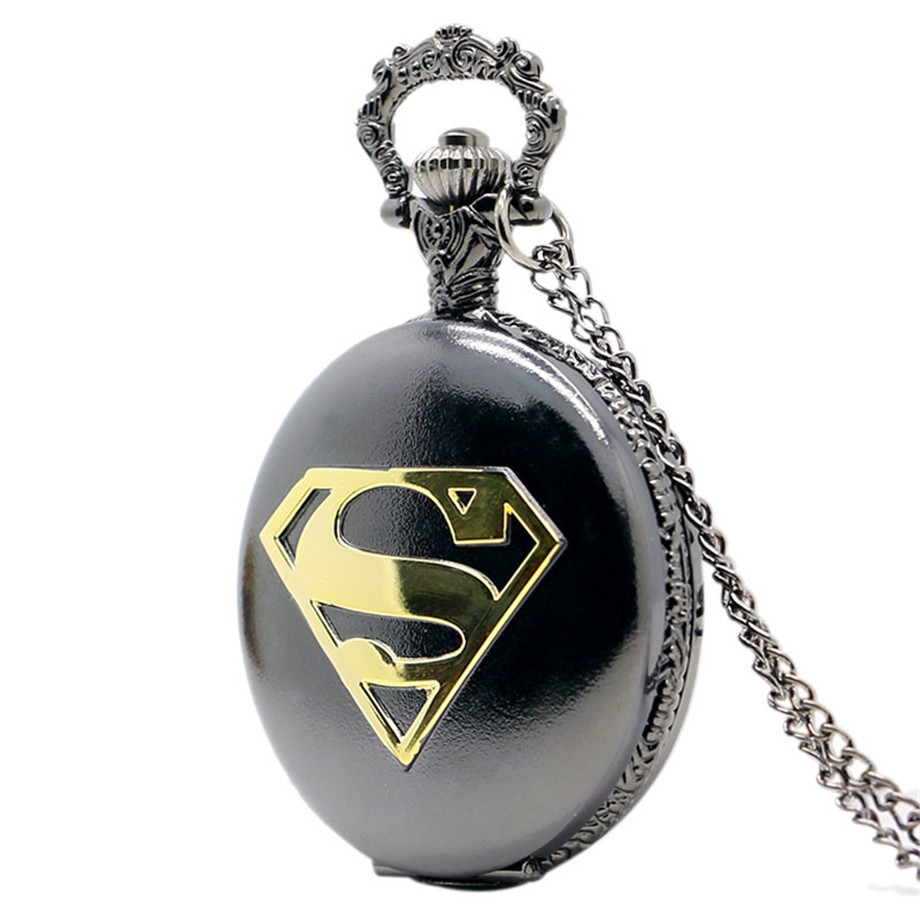 Black Steel Pocket Watch Golden Superman S Symbol Pendant Necklace Cool Teens Boys Clock Special Gifts for Marvel Heroes Fans ...