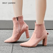 Fashion Shoes 2019 Spring/Autumn Women Shoes High Heel Ankle Boots Luxury Shoes Women Designers Square Heel Pointed Toe Shoes hot selling blue women s spring autumn ankle boots high heel pointed zipper shoes solid square heel pointed toe flock shoes