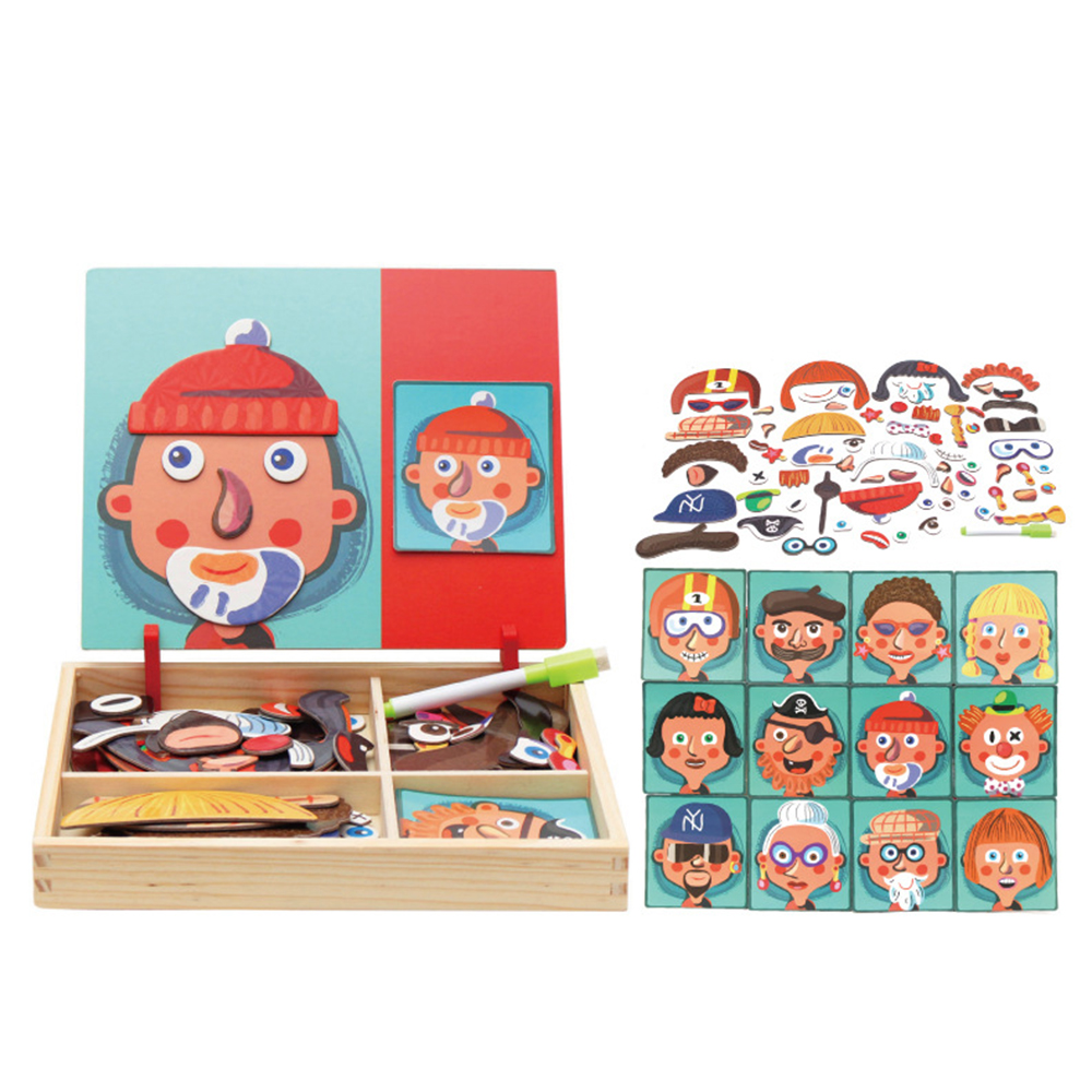 Wooden Toys Magnetic 3D Puzzle For Kids Children Puzzle Toy Wooden Educational Toys Figure/Animals /Circus With Drawing Board