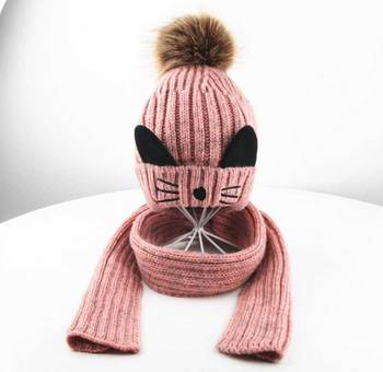 Winter Hat And Scarf Set For Children Girls Kids Cap Scarves Boys Ribbed Knitted Fur Pompom Cap Warm 2 Pcs Suit Cat Design M5300